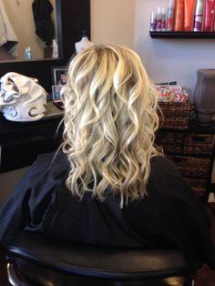 Blonde Highlights, curls, medium length hair