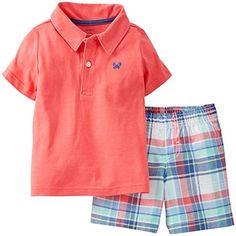 Carters baby boys polo shirt plaid shorts set short sleeves size 6 12 18 NEW Plaid Shorts, Cotton Shorts, Patterned Shorts, Toddler Outfits, Baby Boy Outfits, Kids Outfits, Carters Baby Boys, Toddler Boys, Infant Boys
