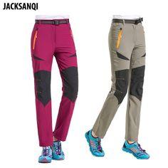 e5a7c7b443e JACKSANQI New Women Stretch Quick Dry Hiking Pants Summer Waterproof Sports  Outdoor Trekking Camping Trousers Female