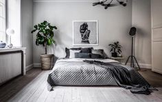 Inspirations Mens Bedroom Ideas - All Bedroom Design Room Ideas Bedroom, Small Room Bedroom, Home Decor Bedroom, Bedroom Rustic, Bedroom Art, Bedroom Furniture, Monochrome Bedroom, Home And Deco, Minimalist Bedroom