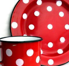 Polka dot red enamel plate and cup