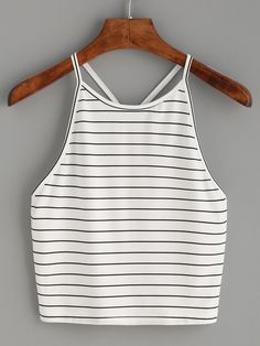White Striped Y Back Cami Top