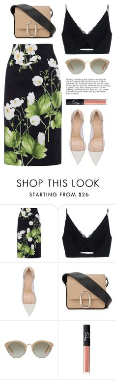 """..."" by yexyka ❤ liked on Polyvore featuring Oasis, Versace, Gianvito Rossi, 3.1 Phillip Lim, Miu Miu, NARS Cosmetics, tropicalprints and hottropics"