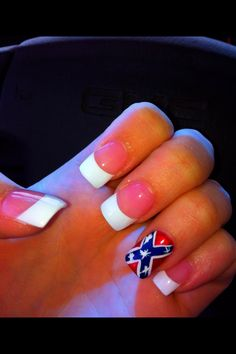 my nails.! #rebelflag #redneck #nails