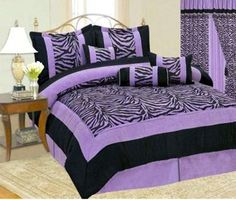teen girl bedroom ideas zebra | Teen Girl Black and Purple Zebra Print Bedding Set - Comforter ...