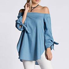 Preself New Casual fashion Women Off Shoulder Tencel Cotton  Blouse Bow Long Sleeve Shirt Split Summer Cold Shoulder Blouse Tops-in Blouses & Shirts from Women's Clothing & Accessories on Aliexpress.com | Alibaba Group
