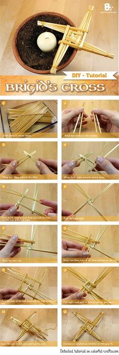 DIY Brigid's Cross Tutorial How to make a straw cross for Imbolc