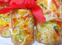 Przetworów ciąg dalszy... ;) świetny dodatek do ziemniaków Składniki: 2 papryki czerwone, 2 papryki żółte, 0.5 kg. ogórków nie za dużych, 1 główka kapusty białej + 4 szt. marchewki, 3 cebule, 3-4 ząbki czosnku, na zalewę:, 1.5 szkl. wody, 1 szkl. octu, 1.5 - 2 szkl. cukru, 5 łyżek oleju, pieprz do smaku Fresh Rolls, Cabbage, Mexican, Vegetables, Ethnic Recipes, Bonsai, Food, Canning, Essen