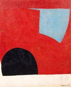 Serge POLIAKOFF (1900-1969) Forme bleue sur fond rouge, 1950 Huile sur toile s