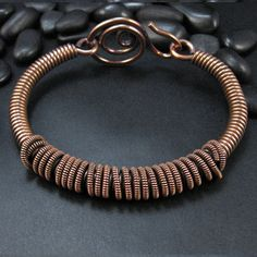Copper Bangle Bracelet, Wrapped Coil, Hand-Forged Wire Clasp