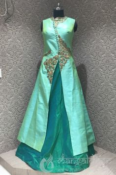 Nourishing unbelievable crafts with freshness in styling, for perfect charming appearance of you. Decent turquoise raw silk antique work readymade indowetsern suit. Featured with antic work. Gives you an awesome look for party or an occasion or any festivals.
