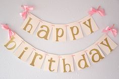 Love this happy birthday banner!  So luxurious and at a great price.  Perfect for a pink and gold party.
