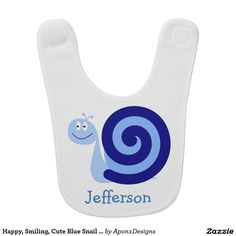 Happy, Smiling, Cute Blue Snail Character + Name Character Names, Toddler Fashion, Baby Bibs, Snail, Cute Babies, Happy, Blue, Design, Bibs
