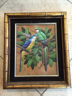 "ORIGINAL OIL PAINTING BIRDS ON LEAVES, SIGNED BY GRIS, W/WOODEN FRAME, 10"" X 8"""