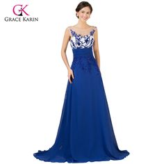 Long Royal Blue Evening Dresses   Chiffon cap sleeve elegant party Dress $75.83   => Save up to 60% and Free Shipping => Order Now! #fashion #woman #shop #diy  http://www.weddress.net/product/long-royal-blue-evening-dresses-2016-grace-karin-chiffon-cap-sleeve-elegant-party-dress-robe-de-soiree-lace-formal-evening-gowns