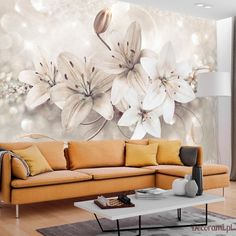 """Water-Resistant and scratch-proof fleece wallpaper """"Diamond Lilies."""" Wallpaper """"Diamond Lilies"""" with a beautiful image of lily flowers this will finish your room perfectly Lily Wallpaper, 3d Wallpaper Mural, Wallpaper Panels, Wallpaper Roll, Photo Wallpaper, 3d Camera, Removable Wall Murals, Peacock Art, Wall Decor"""