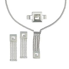 Chopard 18k White Gold Happy Diamond Earring, Necklace & Ring Set #jewelry