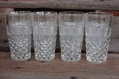 4 Vintage Wexford tall flat  ice tea glasses by polkadotsandcurls, $36.50