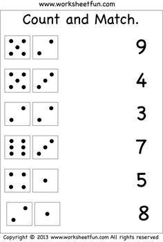 Preschool Worksheets Kindergarten Worksheets First Grade Worksheets Count and Match Worksheets More Dice Worksheets Count and Match - 2 Worksheets Count the dots. Printable Preschool Worksheets, Free Kindergarten Worksheets, Free Printables, Free Printable Kindergarten Worksheets, Counting Worksheet, Number Worksheets Kindergarten, Free Printable Numbers, Kindergarten Phonics, Toddler Worksheets