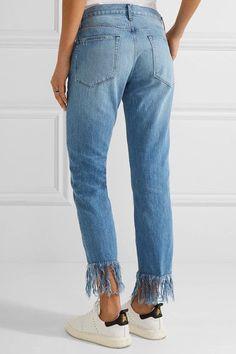 3x1 - Wm3 Crop Fringe Distressed Mid-rise Straight-leg Jeans - Mid denim -