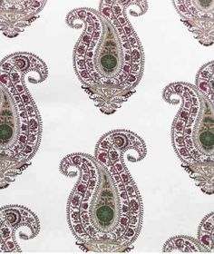 Leela Fabric - A large paisley design in Jade Amethyst printed onto 100% linen. Also available as a wallpaper.