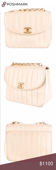 Authentic Chanel Vintage Quilted Flap Bag This beige Chanel Vintage lamb skin bag is a good condition. With gold hardware and a neutral color, this bag is great all throughout the year! Includes a dust bag. CHANEL Bags Shoulder Bags