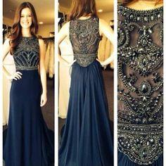 2014 A line Scoop Cap Sleeves Floor Length Chiffon Drak Navy Beaded Formal Party Long Evening Dresses Prom Dresses Gown-in Evening Dresses f...