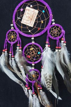 Hey, I found this really awesome Etsy listing at https://www.etsy.com/listing/195045397/purple-dream-catcher-5-circles-45