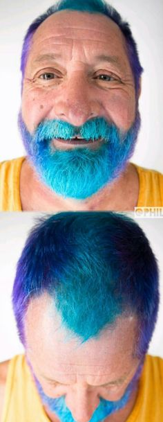Mens dyed hair color with blue @phildoeshair
