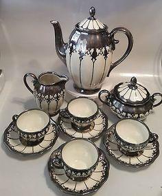 KOENIGSZELT TEA SET - TEA POT, CREAMER, SUGAR, 4 CUPS & SAUCERS - GERMANY
