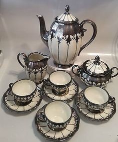KOENIGSZELT TEA SET - TEA POT, CREAMER, SUGAR, 4 CUPS & SAUCERS - GERMANY