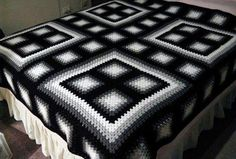 black & white granny square bedspread love the arrangement of squares