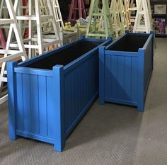 Bespoke Size Wooden Garden Planters, 2 large trough planters made to order painted Moonshadow. We use Accoya to make our planters, this is an environmentally friendly, sustainable wood with a timber year guarantee against rot or decay