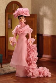 Looking for the Barbie as Eliza Doolittle from My Fair Lady doll? Immerse yourself in Barbie history by visiting the official Barbie Signature Gallery today! Barbie Blog, Barbie Style, Barbie Dolls, My Fair Lady, Audrey Hepburn, Eliza Doolittle, Sheer Gown, Chiffon Gown, Pink Ladies