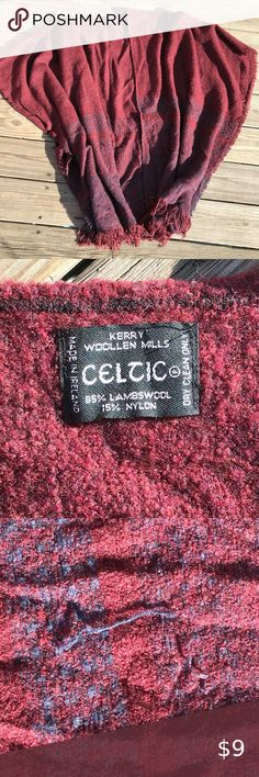 Kerry Woollen Mills Celtic Lambswool Poncho Wrap Poncho / cape / wrap lambswool 85% nylon 15% has a lot of snags, and has been worn a lot, smoke free home; still lots of life left though!  one size fits all dry clean only made in Ireland Celtic Jackets & Coats Capes Woolen Mills, Capes, One Size Fits All, Red And Blue, Celtic, Ireland, Jackets For Women, Smoke Free, How To Make