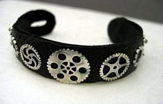 Steampunk leather bracelet  -- I was surprised at how much the guys liked this.  The gears, etc. were purchased at a craft store, but the leather came from used items.  It was a huge it.