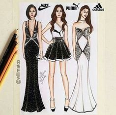 Fashion Illustration Speed Painting with Ink - Drawing On Demand Dress Drawing, Drawing Clothes, Fashion Design Drawings, Fashion Sketches, New York Fashion, Fashion Art, Fashion Trends, Bild Girls, Robes Disney