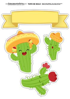 Topo de Bolo Cactos 2 Printable Stickers, Cute Stickers, Planner Stickers, Mexican Birthday, Mexican Party, Diy And Crafts, Crafts For Kids, Fiesta Theme Party, Planer