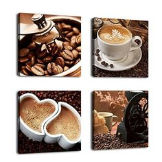 Kitchen Canvas Art Coffee Bean Coffee Cup Canvas Prints Wall Art Decor Framed Ready to Hang - 4 Panels Modern Artwork Painting Contemporary Pictures for Dining Home Decoration by yearainn Kitchen Canvas Art, Kitchen Wall Art, Kitchen Dinning, Dining Room, Kitchen Decor, Kitchen Signs, Kitchen Modern, Kitchen Ideas, Canvas Wall Art