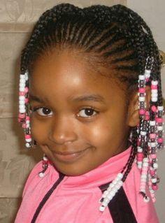 Cornrowed hair with beads #girl
