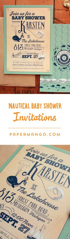 Whale-come baby! I love these retro baby shower invitations. $1.49+ from Paper Mango #whale #baby #shower