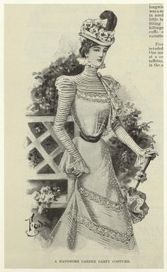 Vintage fashion garden party costume.