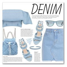 """""""All Denim, Head to Toe"""" by myduza-and-koteczka ❤ liked on Polyvore featuring Boohoo, Anja, Ray-Ban, Salvatore Ferragamo and Forever 21"""