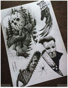 – to draw – draw Horror Tattoo Flash Sheet. – to draw – draw Horror Movie Tattoos, Spooky Tattoos, Horror Movies, Body Art Tattoos, Tattoo Drawings, Sleeve Tattoos, Gun Tattoos, Ankle Tattoos, Word Tattoos