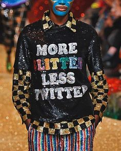 'More glitter less Twitter'  words to live by at ASHISH #AW17 (@ashish_uk). It's been real London Fashion Week! On to Milan. (: Victor Virgile/@gettyentertainment) #LFW #AW17 #Ashish  via ELLE UK MAGAZINE OFFICIAL INSTAGRAM - British Fashion Campaigns  Haute Couture  Advertising  Editorial Photography  Magazine Cover Designs  Supermodels  Runway Models