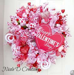 Valentine's Day Wreath Red White and Pink Wreath Deco