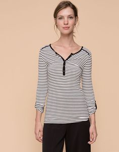 Pull&Bear - woman - t-shirts & tops - button neck striped t-shirt - ice - 09238315-I2015