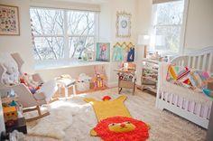 Adorable nursery!  Bright, fun colors. #nursery #baby #moms