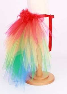 READY TO SHIP:  Paradise Parrot - Bird Tail Bustle Belt - Scarlett Macaw Costume Accessory - Size 7-8 Youth by Cutiepatootiedesignz on Etsy