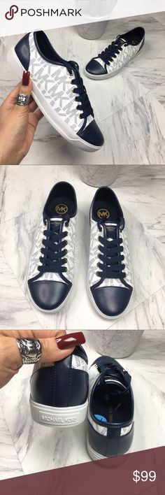 MICHAEL KORS Shoes SIGNATURE LOGO Lace Up Sneakers ☺️ BRAND NEW without box READY TO SHIP!!!   MICHAEL KORS Shoes Lace Up  100% Authentic  Women's Sneaker  Color : White/Navy Blue Size: Women's 7.5    [also check out my other listings for more great NIKE, JORDAN and ADIDAS sneakers for women. Variety of sizes]  ❤️ Lots of Love Michael Kors Shoes Sneakers
